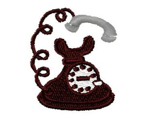 Old Phone Embroidery Design, Instant Download, 4x4 Hoop Size,  8 Formats, Old Telephone Embroidery Design