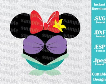 INSTANT DOWNLOAD SVG Disney Inspired Princess Ariel Mickey Ears Cutting Machines Svg, Esp, Dxf and Jpeg Format Cricut Silhouette