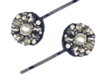 Star-shine Hair Pins of Pearl Cabochons, Crystals and Silver Plated Beads make perfect party Hair Jewelry