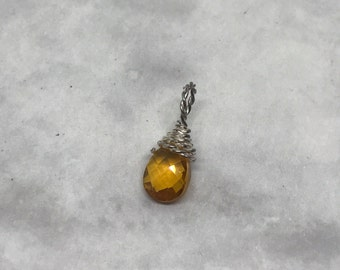 Vintage sterling silver handmade pendant, solid 925 silver wire with citrine charm, silver tested