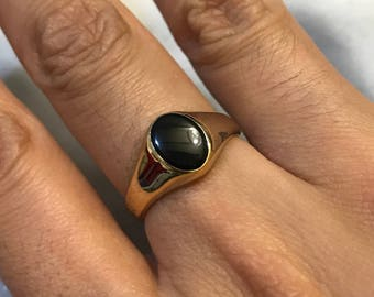 Size 7, gold over Sterling silver handmade ring, solid 925 silver wired band with oval shaped obsidian , stamped sterling