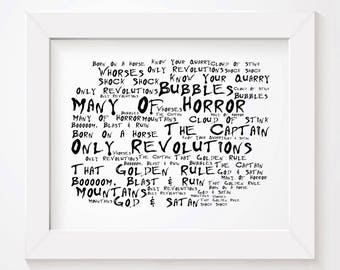 Noir Paranoiac BIFFY CLYRO Art Print Typography Lyrics Poster - Signed & Numbered Limited Edition Unframed 10x8 Inch Album Wall Art Poster