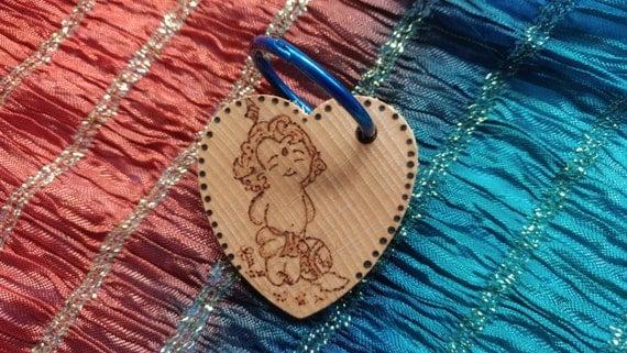 Krishna personalized woodburned keychain