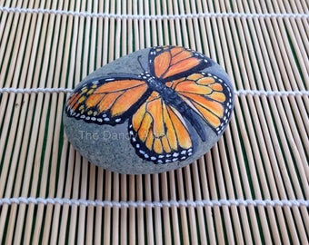 Monarch butterfly, hand painted pebble art.