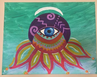 Third Eye Sun & Moon- Canvas Art Painting- Hand Painted
