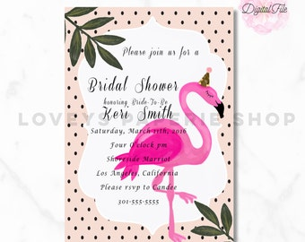BRIDAL SHOWER Invite-Tropical Sixties Inspired Pink Flamingo Black White Polka Dot Chic Cool Modern Wedding Invite - Sixties Chic