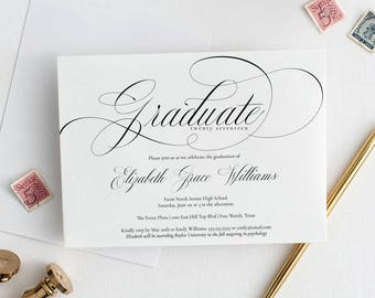 Editable Calligraphy Graduation Announcement Invitation Template, Printable Instant Download, A7, MAM211_18