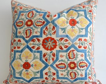 SALE 30% Suzani Pillow Cover 20x20 Beige Blue Floral Hand Embroidered Vintage Silk Suzani Pillow For Couch Silk Pillow Decorative Throw