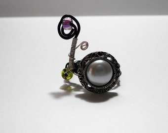 wire wrapped ring, button ring, beaded ring, handmade ring, ring, steampunk ring