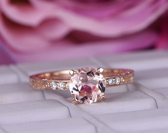 7mmRound Cut Morganite Engagement ring/14k rose gold diamond band/Morganite Promise bridal stacking ring/Solitaire wedding band/Ball prongs