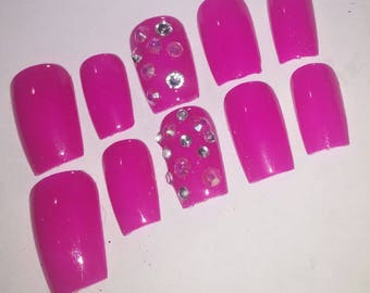 Pink Nails with Swarvoski Crystals