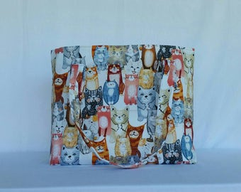 Tote / Cats / Cat Tote / Shopper Tote / Bag / Messenger Bag / Shoulder Bag / Shopping Bag / Cartoon Cats / Crazy Cat Lady