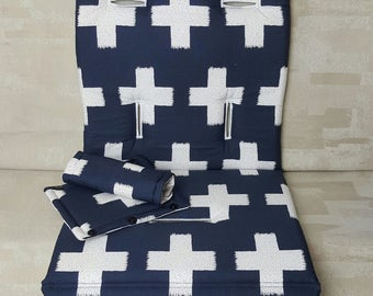 Stroller/Pram Liner made for Strider/Agile/City/Bugaboo and More ~ Crossed Impression over Midnight (navy)