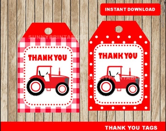 Tractor tags; printable Red Tractor Thank you Tags, Tractor party tags instant download
