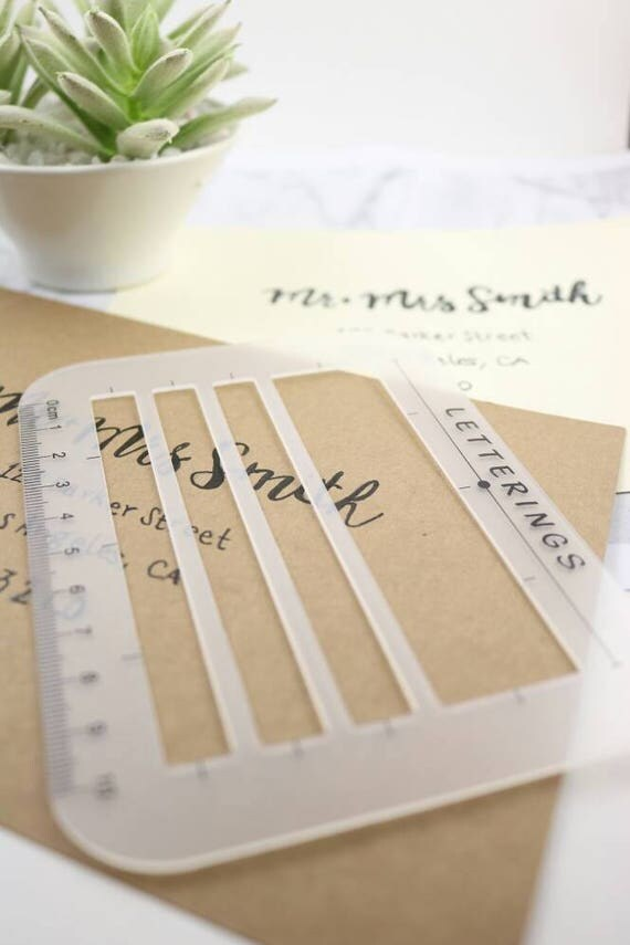 Envelope And Address Stencil Ruler Guide And Template For