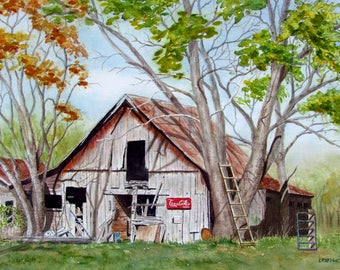 Barn painting old barn original watercolor painting coca cola memorabilia 11x15