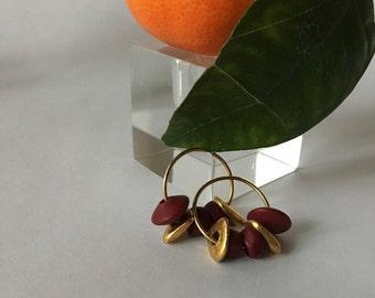 1980s Gold and Burgundy Beaded Hoop Earrings / Medium Sized Beaded Hoops