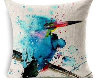 Vibrant Watercolor Bird Print Decorative Pillow Cover - Kingfisher 1