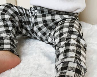 Baby boy pants comfy pants, babyshower gift for boy, black and white plaid pants