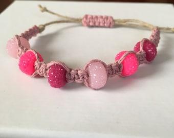 Pink Beaded Pink Hemp Bracelet - Valentines Day