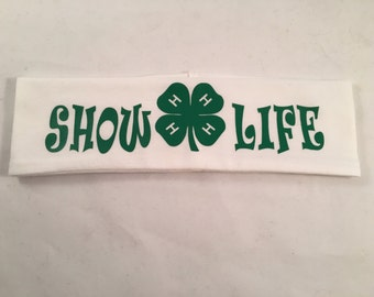 4H Headband, 4-H, Workout Headband, Livestock Show, Stock Show, 4-H Livestock, Show Cattle, Show Pigs, Show Lambs, Show Rabbits, Poultry