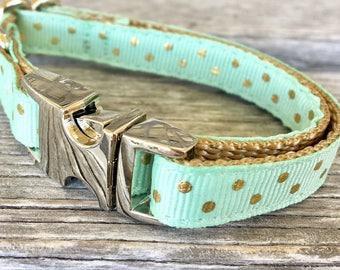Swiss Dot Teacup Dog Collar, Gold Dot Hot Pink Dog Collar, Red Dog Collar, Mint Toy Breed Dog Collar, Teacup Dog Collars