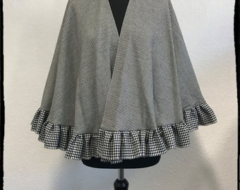 handmade black and white wool cape