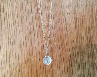 Personalised initial sterling silver disc necklace