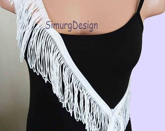 Handmade White Fringes Scarf with Zipper Fringed Festival Accessories Zippered Fringes