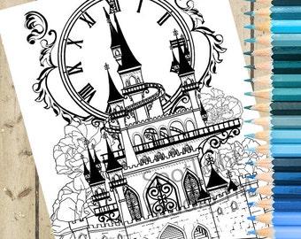 CINDERELLA CASTLE Adult Coloring Page Cinderella Printable Fairy Tale Castle