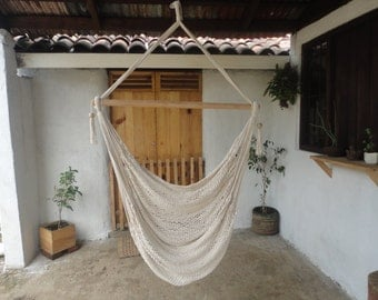 Hanging chair | hammock | 100% cotton | hand made | wood of guacimo