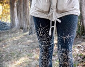 Unique Leggings - Bleached Yoga Pants - Black Yoga Pants - Black Legging - Bohemian Leggings - Vegan Clothing - Leggings - Gift for Her