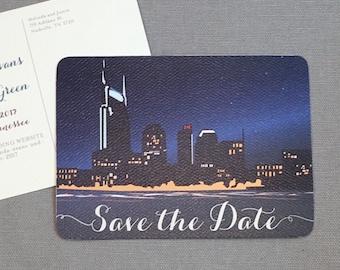 Nashville Tennessee Night Skyline Save the Date Postcard- JA1
