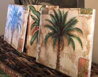 Palm Tree Coasters, Ceramic Coasters , palm tree decor, palm trees, island decor, beach coasters , Nautical coasters, beach decor, cottage