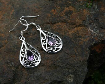 Celtic Style Earrings With Amethyst
