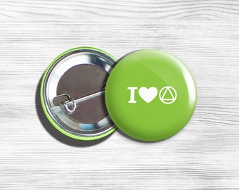 """AA Alcoholics Anonymous Inspirational """"I Love AA"""" Pinback Button Pin Lime H 1.75"""""""