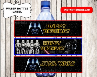 Darth Vader water labels instant download , Star Wars water bottle labels, Printable Star Wars party water labels