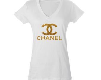 Chanel Inspired Size Large Gold Glitter White V-Neck Shirt