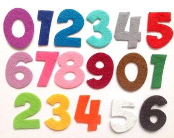 "Felt Numbers Die Cut, Felt Cut Outs for Crafting & Sewing, Felt Shapes, 1.2"" Tall Pack of 30 Felt 0-9 Numbers in a Choice of Colours"