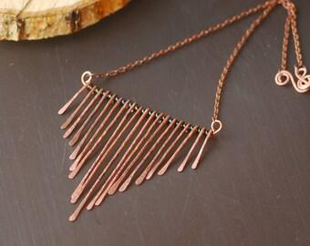 Copper Pendant Necklace Copper wire work necklace Hand Forged Copper Necklace Wire work focal Antiqued copper necklace Copper pendant Long