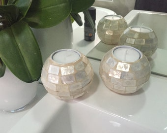 Set of 2 Hamptons Beach Coastal Capiz Shell Tealight Candle Holders