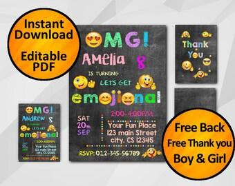 Emoji invitation - SALE 60% OFF - instant download 5x7 - free back and thank you -pink girl blue boy emoji party editable chalkboard C011