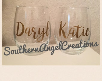 Personalized Stemless Wine Glasses 15 oz