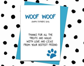 Fathers Day Card. Father's Day Card. Funny Happy Father's Day Card. Father's Day Card From Dog. Card For Dad. Happy Father's Day. Dad Card.