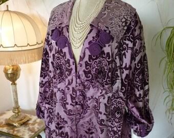 Purple Dévoré-Velvet Coat, Antique Coat, Edwardian Coat, ca. 1910