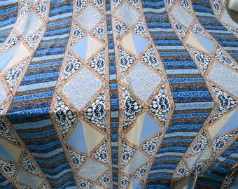 """printed silk crepe de chine 55"""" wide  16momme  symetrical blue pattern holiday"""