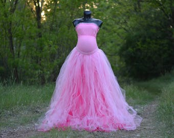 Full length tulle skirt and top, maternity skirt, photo prop ,adult tutu, sewed tutu, maternity props, maternity gown RTS
