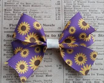 Purple Sunflower Hair Bow, girls hair bows, hair accessories, party favors