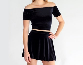 Black Velvet 2 Piece Set Off Shoulder Skater Skirt Coordinates