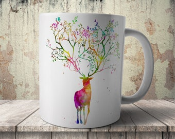 Stag with Tree Horns, Animal, Nature, print on anything, image on transparent background, digital file, Watercolor, printable wall art (511)